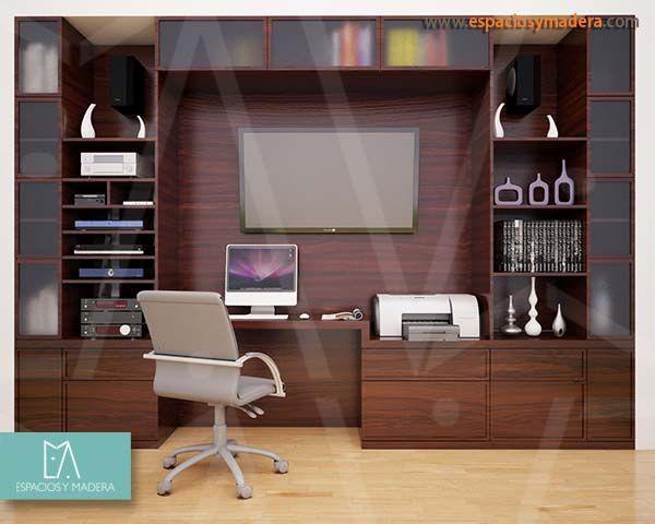 Elegancia y funcionalidad en un mismo lugar. Centro de TV y escritorio de trabajo.