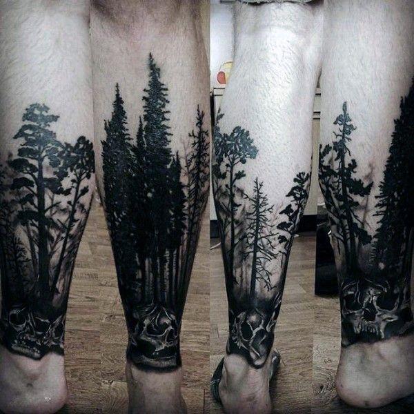 Cráneo con árboles forestales tatuajes para los hombres en inferior de las piernas