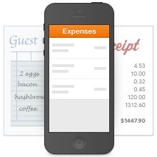 EXPENSE TRACKING  Snap photos of receipts and store them in the Harvest app for iPhone or Android.