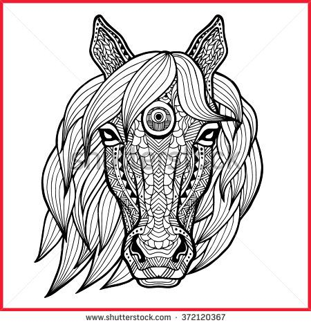 144 best Zentangled Animals Horse images on Pinterest Drawings