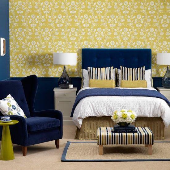 blue/yellow bedroomDecor, Blue Velvet, Guest Room, Colors Combos, Bedrooms Design, Master Bedrooms, Yellow, Bedrooms Ideas, Modern Bedrooms