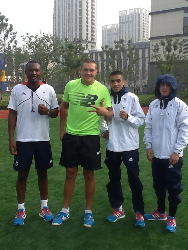 GB Boxers-The lads met Oleksandr usyk this morning on the track , the Olympic gold medallist is here as an ambassador for Ukraine