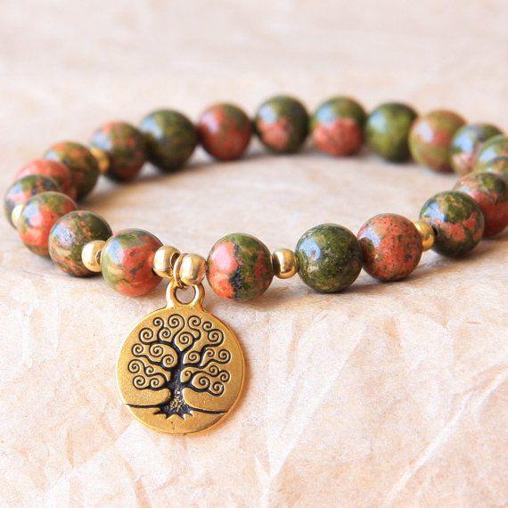 Buddhist Mala Bracelet, Prayer Bead Bracelet, Yoga Jewelry, Unakite For Recovery, Spiritual and Psychological Growth