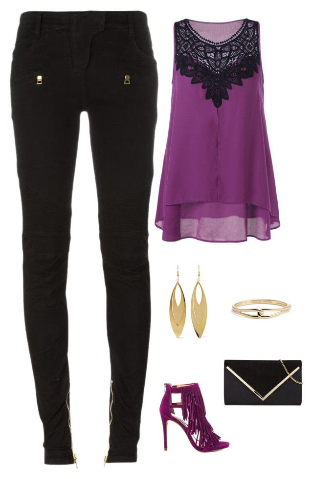 """""""Untitled #1686"""" by netteskytte on Polyvore featuring Steve Madden, Balmain, Kenneth Jay Lane and Kate Spade"""