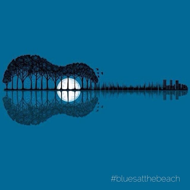 Awesome guitar design #moon #trees