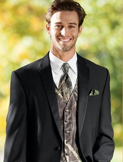 Mens Mossy Oak Camo Tuxedo Vest Tie & Hankie Set Tuxxman Camouflage All Size