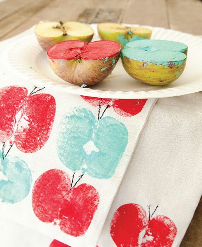 """DIY Kids; """"Stamp The Apple Stamp"""" in Lovely Bright Colors, Draw the Stalks, and Design a Apple Wrapping (gifting, writing note, recipe ) Paper. Maybe there is hiding a Little Apple Worm?  By Stampington & Company."""
