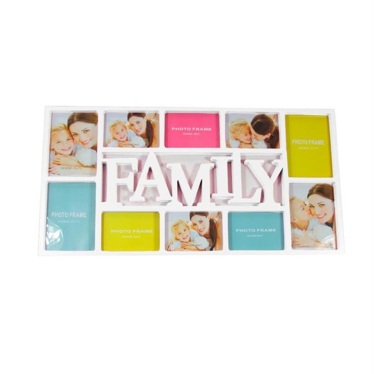 "28.75"" White Dual-Sized ""Family"" Photo Picture Frame Collage Wall Decoration"