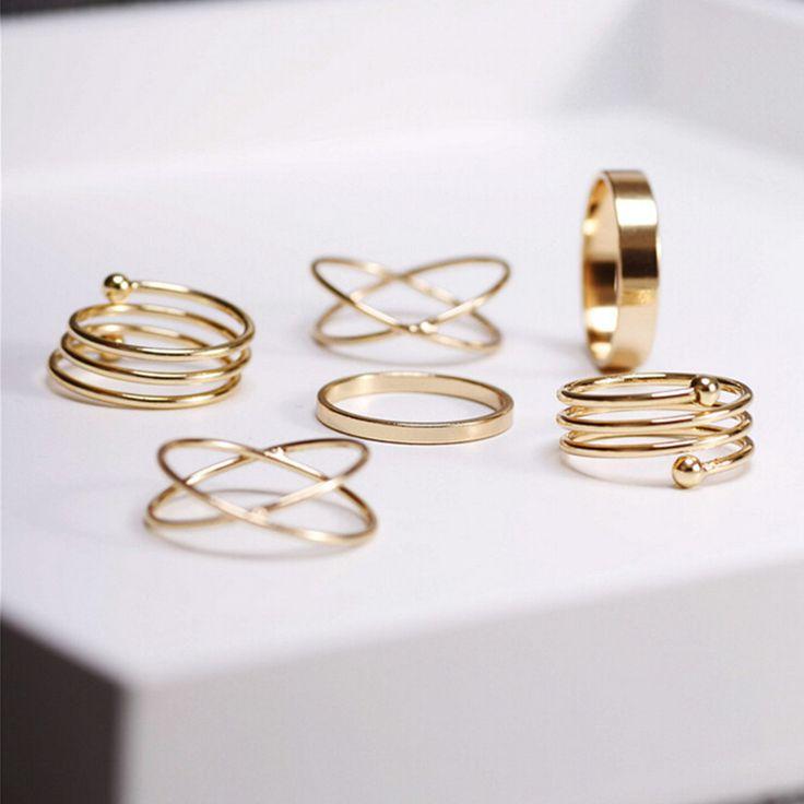 Pas cher Hot ensemble de sonnerie Unique Punk plaqué or Knuckle anneaux pour les femmes anneau de doigt 6 PCS Ring Set meilleures ventes 2015 M12, Acheter  Bagues de qualité directement des fournisseurs de Chine: