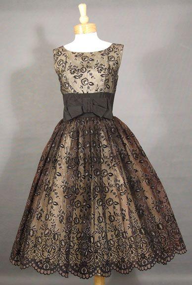 1950's Flocked Chiffon Cocktail Dress