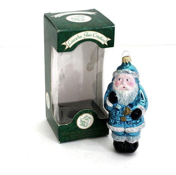 Lauscha Glas Creation Hand Blown Glass Santa by CreekLifeTreasures #Lauscha #Glas #Creation #handblown #Glass #Blue #Santa #ornament