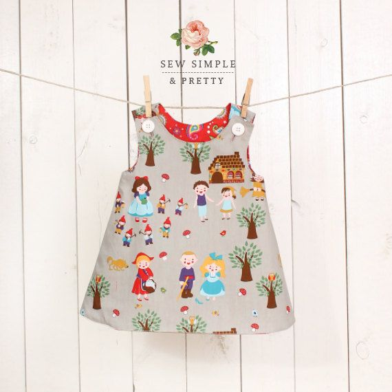 Girls A line dress pattern - easy toddler reversible dress patterns - children sewing patterns 1 to 8 years on Etsy, $6.00