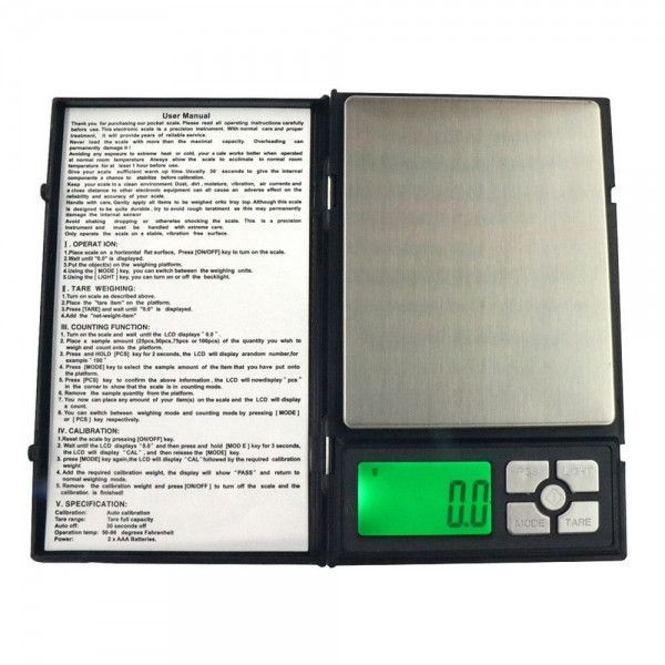 "2000g / 0.1g 1.9"" Notebook Style Precise Electronic Scale Gold Jewelry Scale"