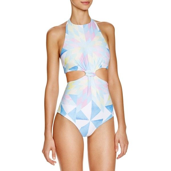 Mara Hoffman Fractals Printed Cutout One Piece Swimsuit (340 CAD) ❤ liked on Polyvore featuring swimwear, one-piece swimsuits, white multi, cut-out bathing suits, mara hoffman swimsuit, cut out one piece swimsuits, cut-out one piece swimsuits and 1 piece swimsuit