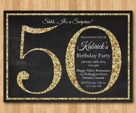 50th birthday invitation. Gold Glitter Birthday Party by arthomer