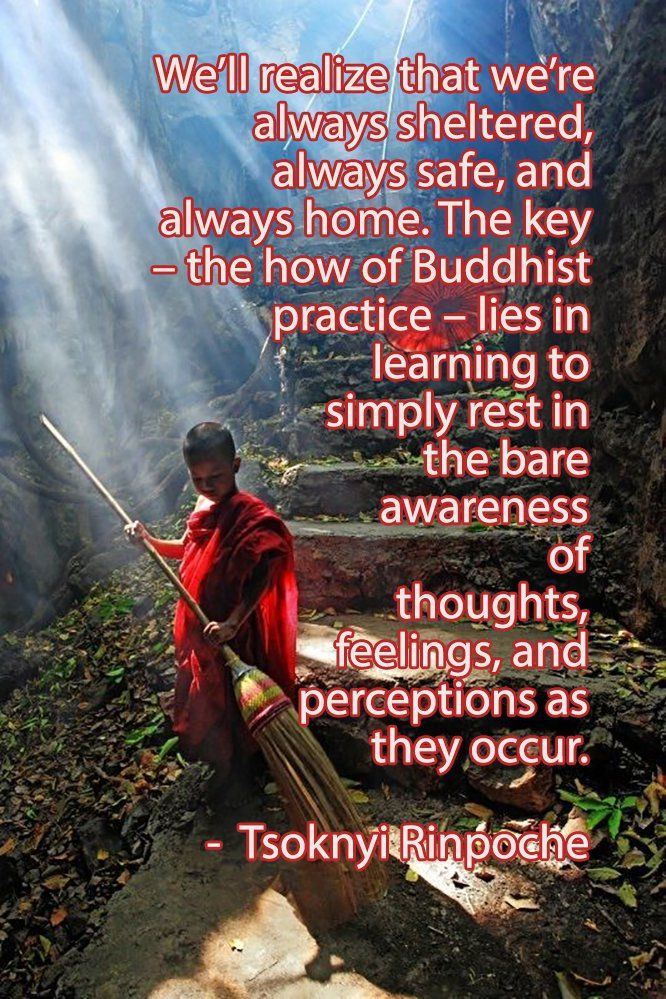 We'll realize that we're always sheltered, always safe, and always home. The key – the how of Buddhist practice – lies in learning to simply rest in the bare awareness of thoughts, feelings, and perceptions as they occur. - Tsoknyi Rinpoche
