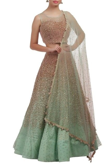Ice-blue embellished lehenga