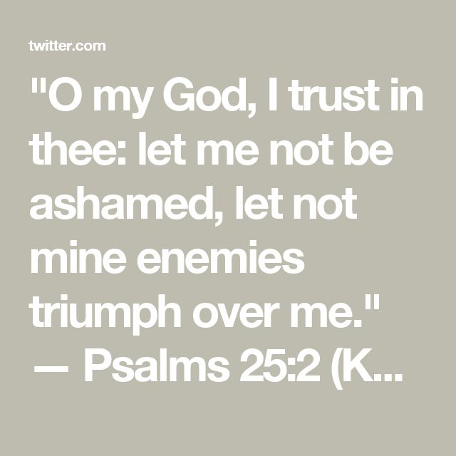 """O my God, I trust in thee: let me not be ashamed, let not mine enemies triumph over me.""  — Psalms 25:2 (KJV)"