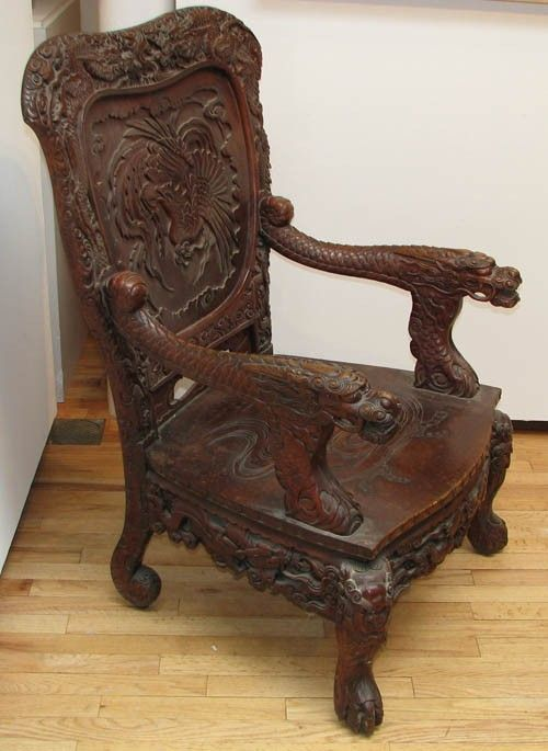 967 antique chinese japanese carved chair 19th or on
