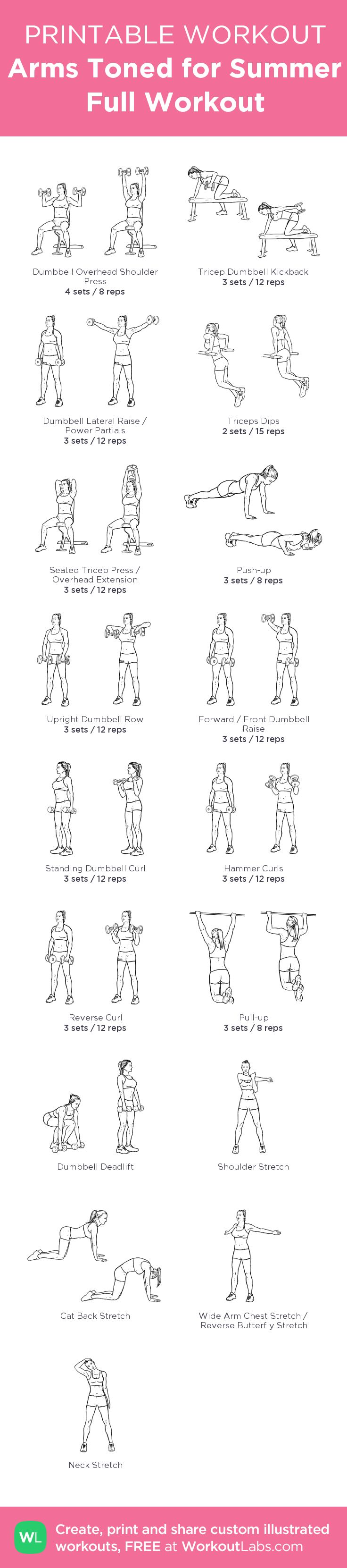 Arms Toned for Summer Full Workout – my custom workout created at WorkoutLabs.com • Click through to download as printable PDF! #customworkout