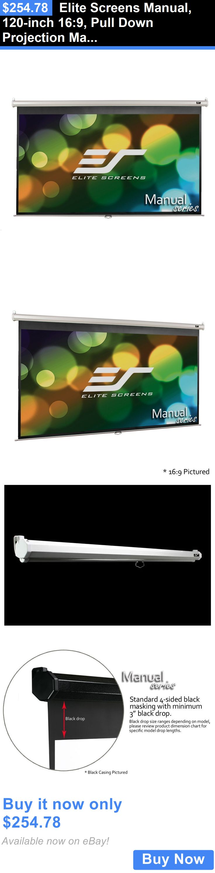 Projection Screens and Material: Elite Screens Manual, 120-Inch 16:9, Pull Down Projection Manual Projector #6W BUY IT NOW ONLY: $254.78