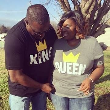 "This lovely couple celebrated their 17th year wedding anniversary in their ""King"" and ""Queen"" MarriageTees."
