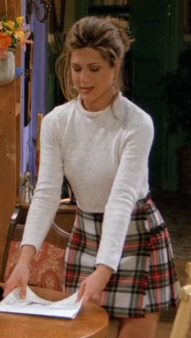 Cream white knit ling sleeved top with checked skirt rachel/Jennifer aniston friends