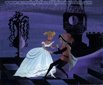 Original Mary Blair concept painting of Cinderella and Prince Charming from Disney Studios' Cinderella (1950)
