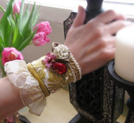 Vintage fabric cuff bracelet, Eco friencly jewelry cuff for wrist Victorian inspired on Etsy, Sold