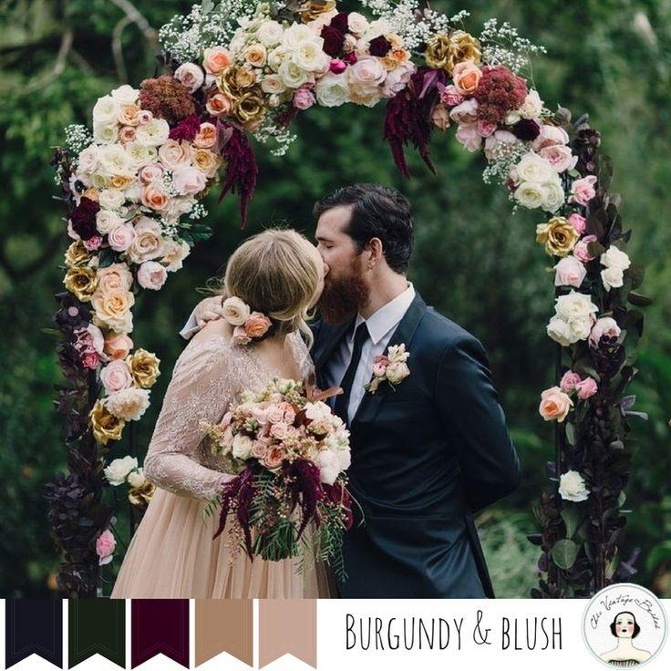 5 Perfect Palettes for an Autumn Vintage Wedding - Burgundy Blush
