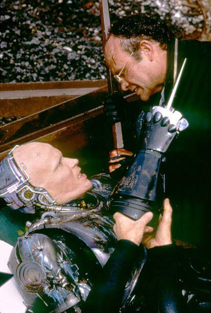 American actors Peter Weller and Kurtwood Smith on the set of RoboCop directed by Paul Verhoeven