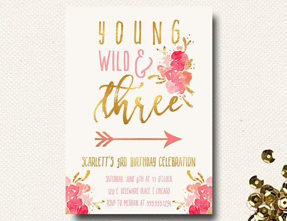 Young Wild And Three Invitations Girls Birthday Invites 3rd Party For Brunch