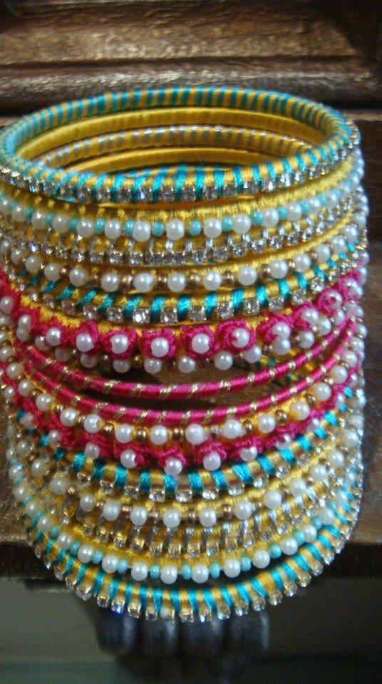 Bangle Set with thread and stonework #IndianJewellery #OnlineShopping