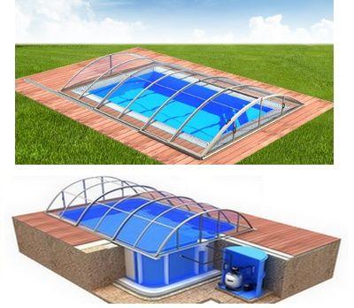 Pool-Komplettset Albixon Quattro A Klasik Clear mit Überdachung, Schwimmbecken und Technikschacht 2,70 x 6,00 x 1,50m