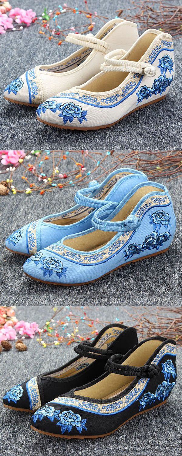 $15.62 Embroidery Flower Lace Up Chineseknot National Wind Flat Shoes,Chinese Style Flats,Folk Style Flats,Summer Shoes Outfit,Flat Shoes Women