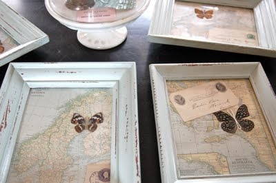 Old frames, maps from old encyclopedias, butterflies and old letters.