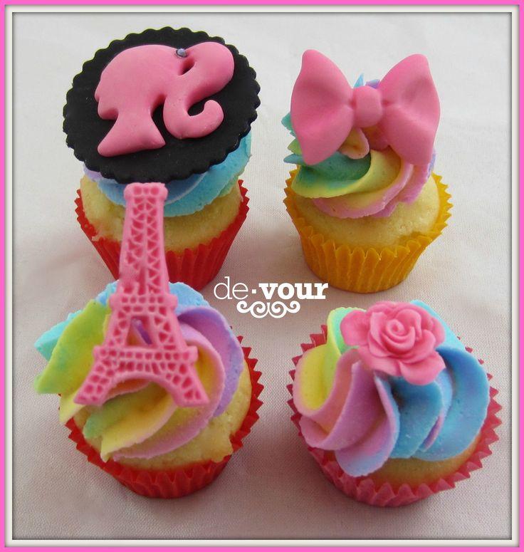 rainbow cupcakes, barbie cupcakes, eiffel tower cupcakes, bow cupcakes, rose cupcakes, cupcakes for girls