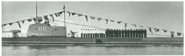 """ORP """"Ryś"""" in the service of the Polish Navy, at the tower the tactical designation B-12. Sea Days in 1949 Public domain"""