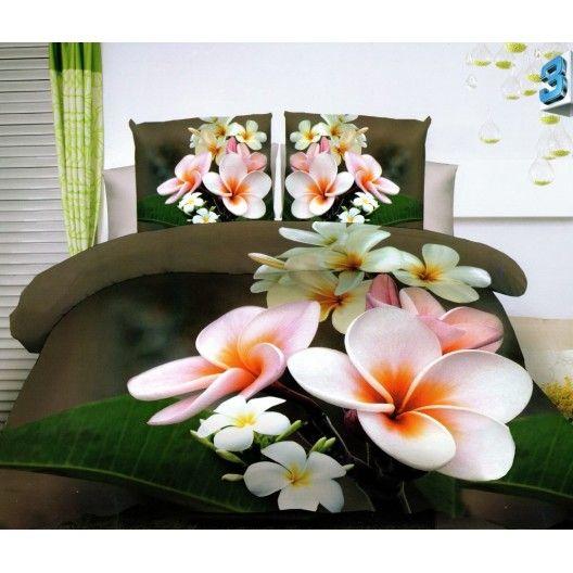 Kvalitné posteľné obliečky hnedej farby s ružovými kvetmi