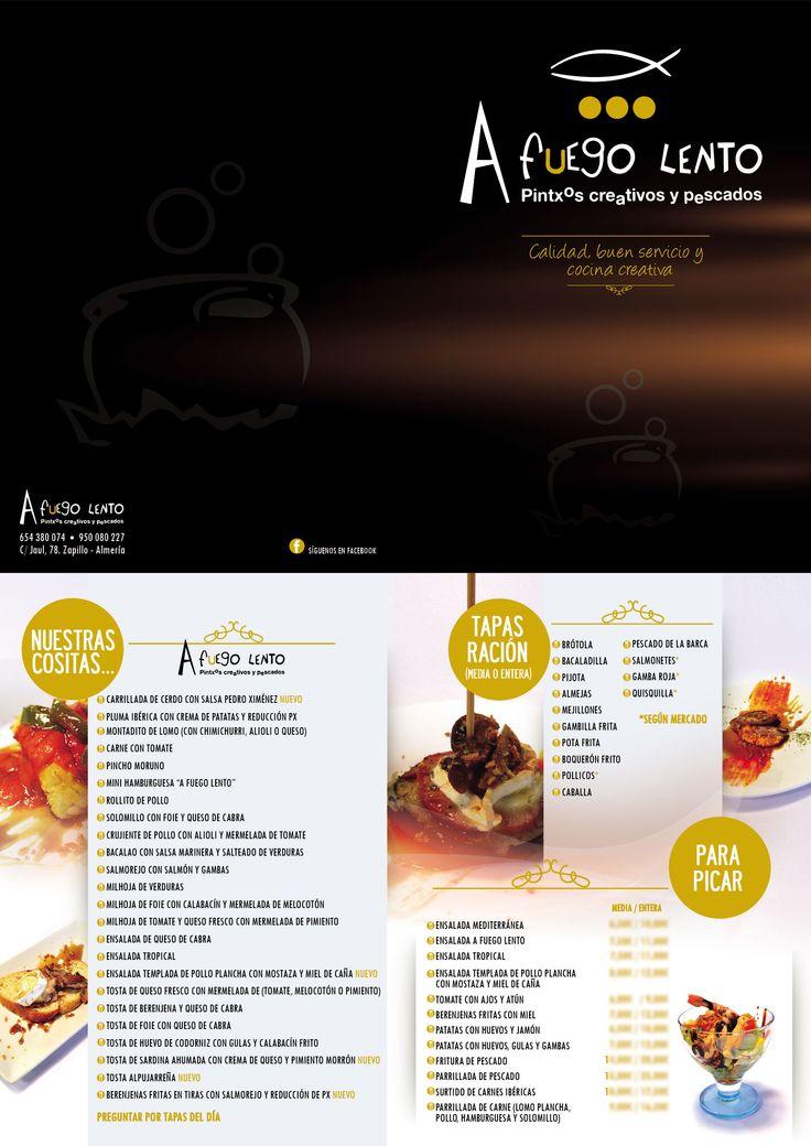 Carta de tapas y raciones para café-bar A Fuego Lento. Elaborado por el Dpto. de Diseño y Publicidad de Grupo Multidial.