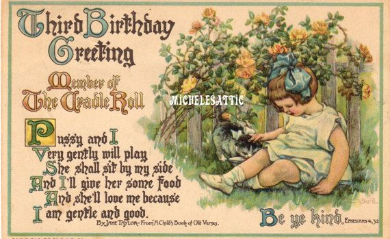 Antique Third Birthday Card  Member of the Cradle by MichelesAttic