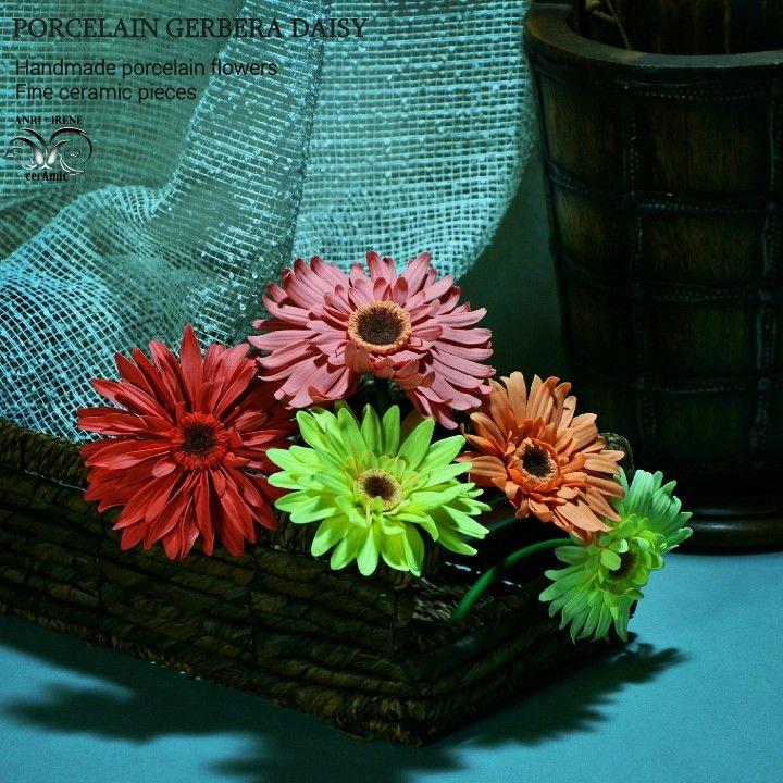 Ceramic flowers gerbera daisy. Biscuit porcelain. Ceramic floral. Handbuilt ceramics.