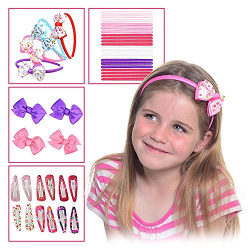 HAIR ACCESSORIES GIFT SET FOR GIRLS  40 PIECE SET Headbands Hair Clips Hair Bands Ribbon Bows Slides Barrettes  Makes An Ideal Gift For Baby Girls Teens Girls Babies Toddlers *** Details can be found by clicking on the image. (This is an affiliate link) #BunandCrownShapers