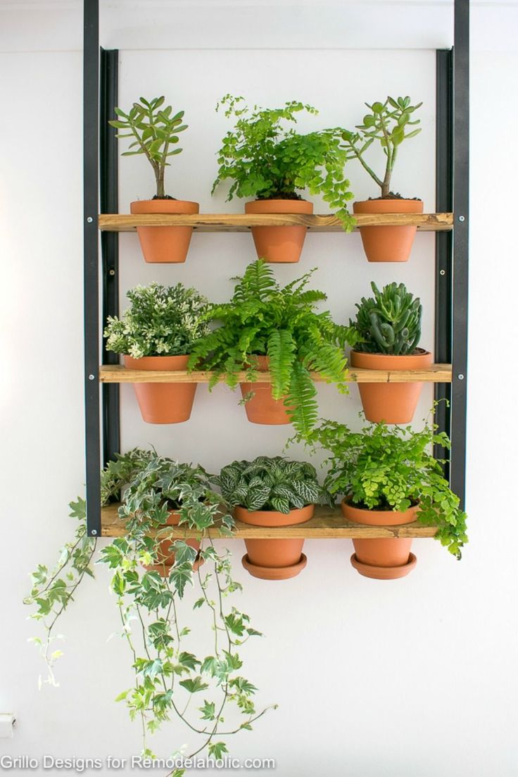 IKEA Hack: Turn an inexpensive Hyllis metal shelf into an industrial wall planter, great for houseplants or an herb garden. Tutorial from Grillo Designs on Remodelaholic.com