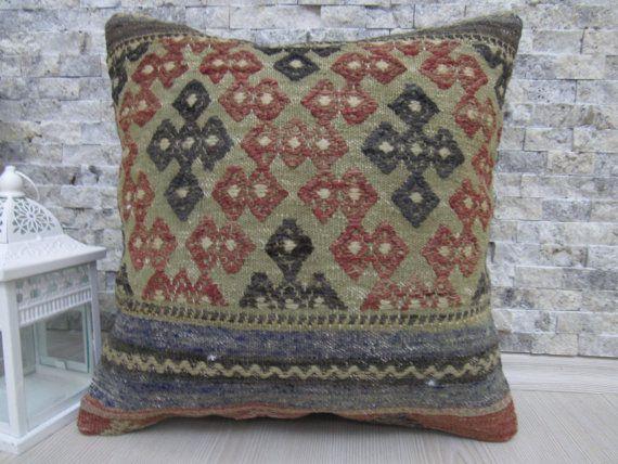 traditional decorative pillows kilim rug kilim pillow 16x16 kilim cushion asian pillow aztec pillow boho pillow throw pillow handmade pillow