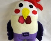Rooster doll - felt and fleece doll - hand embroidered