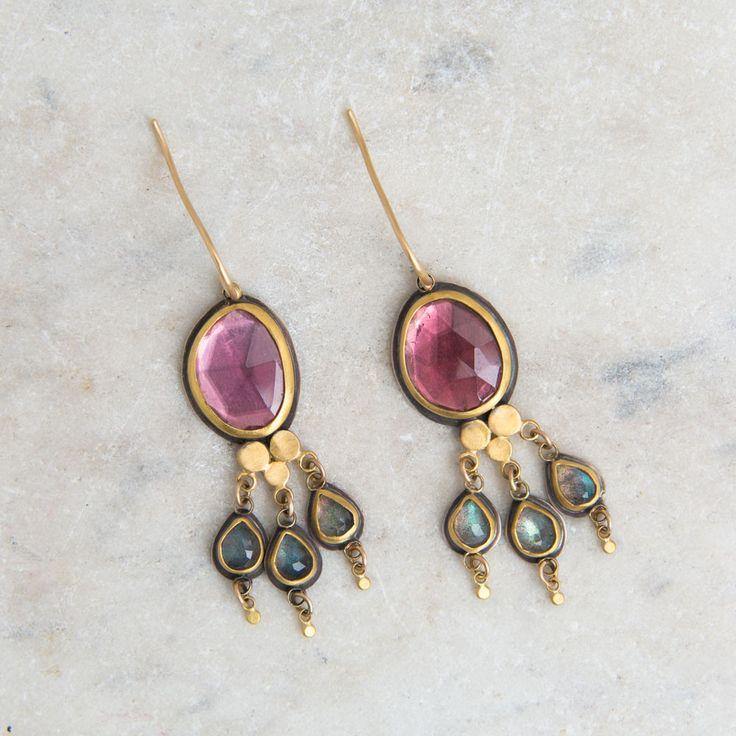 Pink tourmaline & labradorite earrings by Ananda Khalsa, jewelry designer (=)