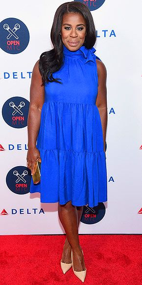 Last Night's Look: Love It or Leave It? Vote Now! | UZO ADUBA | in a colbalt blue frock featuring a pleated skirt and bow-adorned turtleneck at the 2nd Annual Delta Open Mic event in N.Y.C.