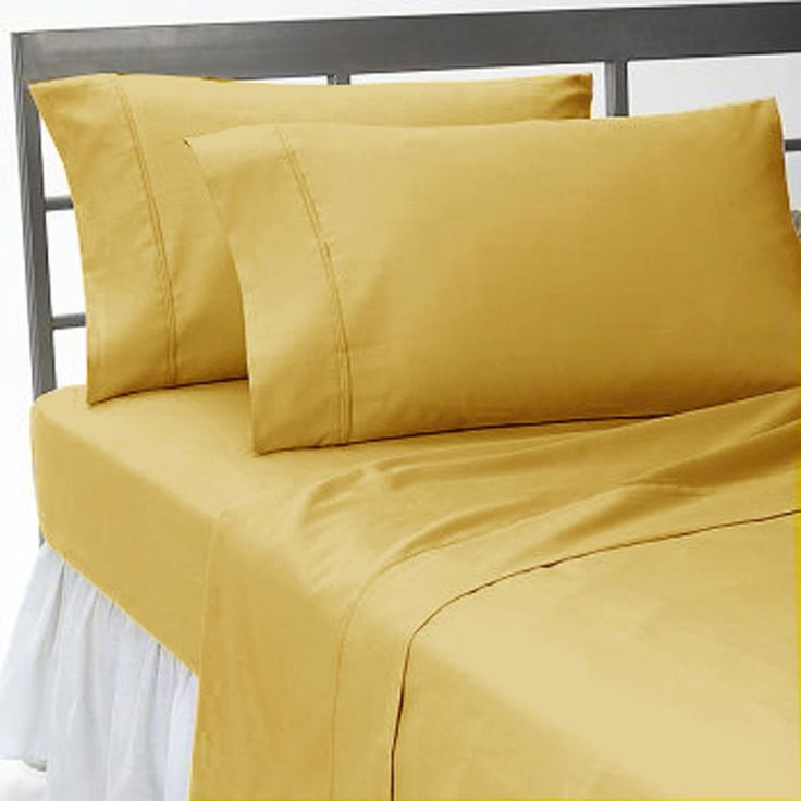 FULL GOLD SOLID SHEET SET 100% EGYPTIAN COTTON 4 PIECE SET #Scala