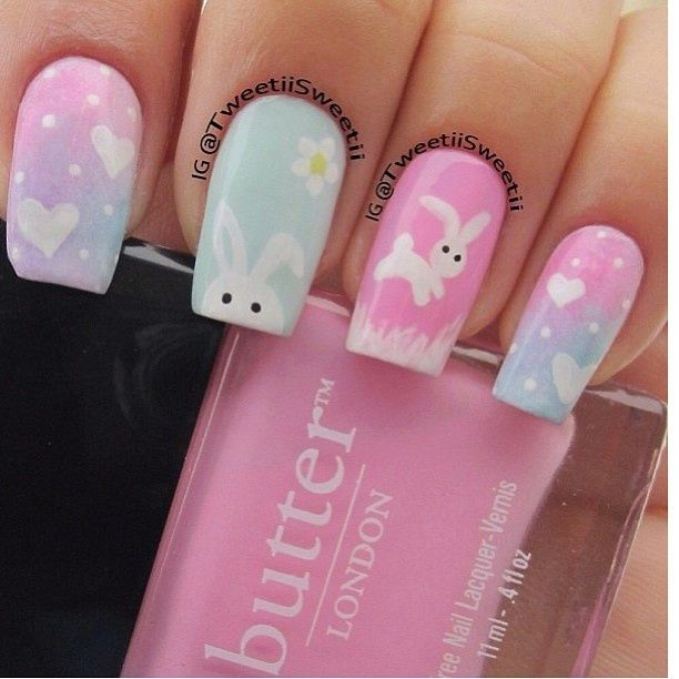 Cute pastel Easter Nail Art